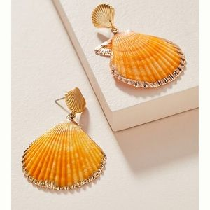 Anthroplogie Scalloped Sea Shell Earrings